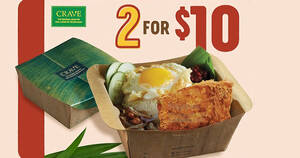 Featured image for CRAVE: $10 for two sets of Nasi Lemak with Chicken Otah Meatloaf till 16 May 2021