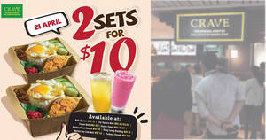 CRAVE is offering Nasi Lemak with Fried Mackerel sets at 2-for-$10 (U.P $18.80) on 21 Apr 2021