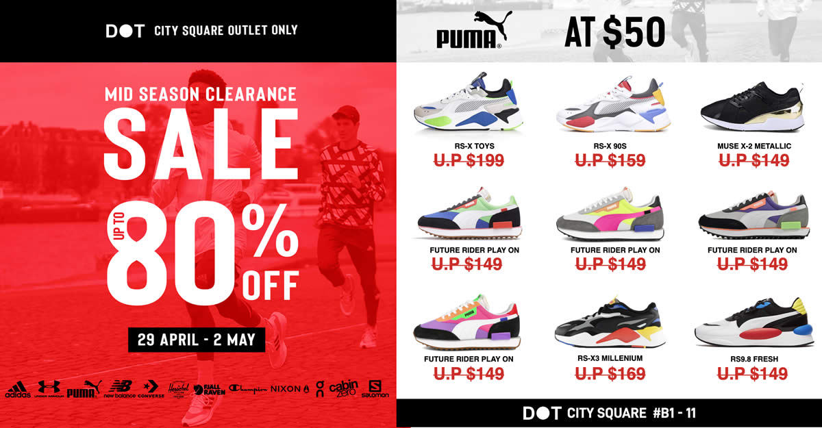 Featured image for DOT City Square has up to 80% off Adidas, Puma, New Balance and more from 29 Apr - 2 May 2021