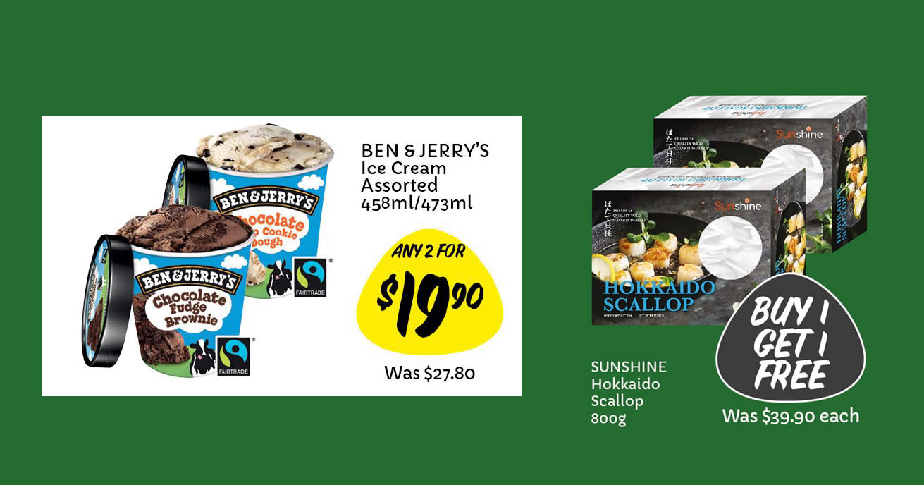 Featured image for Giant: 1-for-1 Hokkaido Scallop, Ben & Jerry's at 2-for-$19.90 (U.P. $27.80) & more till 5 May 2021