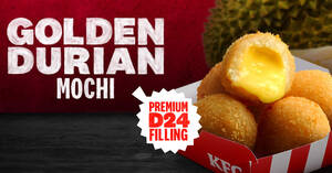 KFC S'pore launches new Golden Durian Mochi containing premium D24 durian filling from 7 April 2021