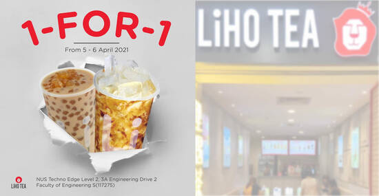 Featured image for LiHO is offering 1-for-1 all drinks on the menu at NUS Engineering Faculty outlet till 6 April 2021