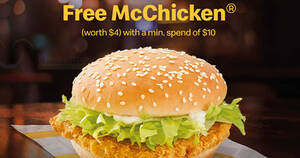 McDelivery S'pore: Free McChicken® when you apply this promo code till 30 Apr 2021
