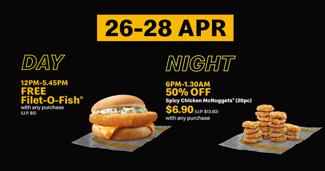 Featured image for McDelivery S'pore: Free Filet-O-Fish® Burger (U.P. $5) or 50% Off 20pc Spicy Chicken McNuggets till 28 Apr 2021