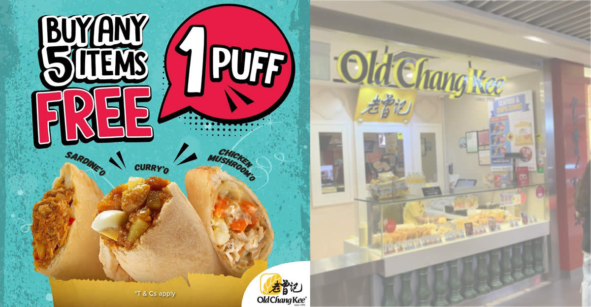 Featured image for Old Chang Kee: Free puff with purchase of any five items at all outlets till 31 May 2021