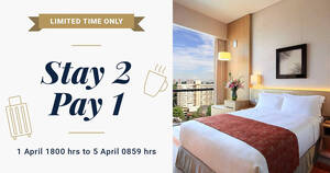 Park Hotel Group offering 1-for-1 nights for stays until 30 June 2021 at five participating hotels. Book by 5 Apr 2021