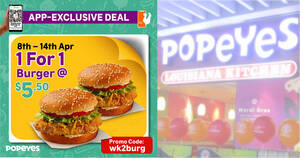 Popeyes S'pore: Enjoy 1-for-1 Burger when your order via the Popeyes App till 14 April 2021