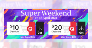 Qoo10: Grab free $10 and $20 cart coupons till 18 Apr 2021