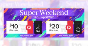 Qoo10: Grab free $10 and $20 cart coupons till 18 Apr 2021