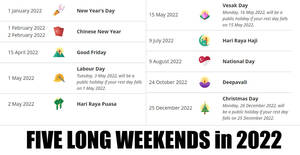 Singapore 2022 Public Holidays – Five Long Weekends! Updated as 6 April 2021