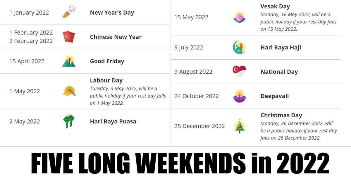 Featured image for Singapore 2022 Public Holidays - Five Long Weekends! Updated as 6 April 2021