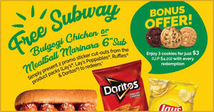 Subway: Buy Lay's, Ruffles & Doritos product packs and redeem free subs till 31 May 2021