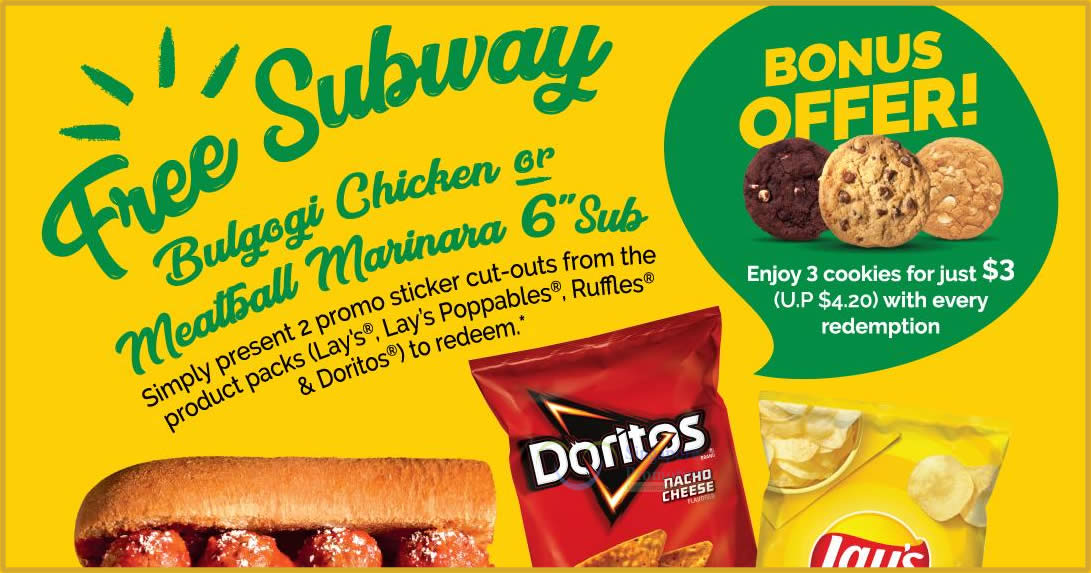 Featured image for Subway: Buy Lay's, Ruffles & Doritos product packs and redeem free subs till 31 May 2021