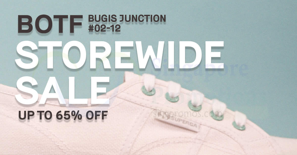 Featured image for Superga, Sebago, Havaianas are going at up to 65% off at BOTF Bugis Junction from 29 Apr - 3 May 2021
