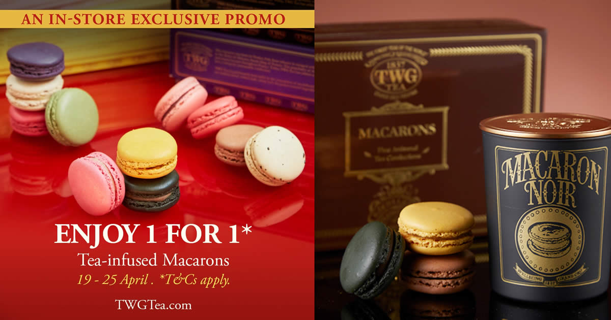 Featured image for TWG Tea S'pore is offering 1 for 1 Tea-Infused Macarons till 25 April 2021