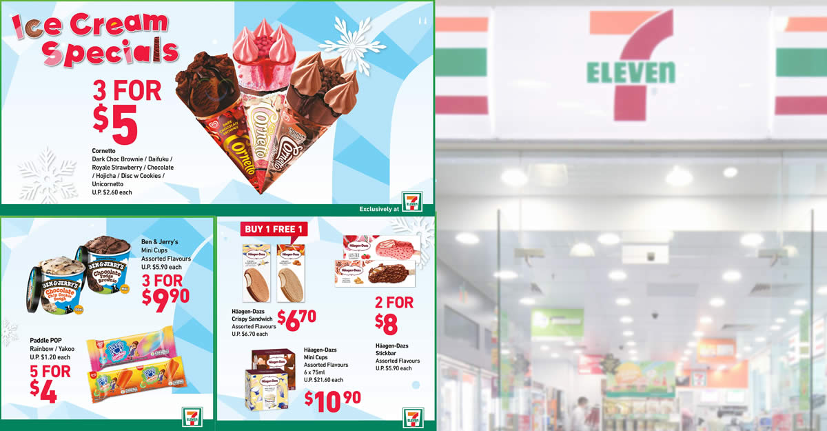 Featured image for 7-Eleven Ice Cream Specials: 1-for-1 Haagen-Dazs Crispy Sandwich, 3-for-$5 Cornetto & More (From 30 Apr 2021)