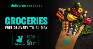 Deliveroo: Free delivery from Cold Storage/Giant stores + $10 off code valid till 31 May 2021