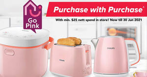 Fairprice is offering pink Philips small appliances at up to 57% off with min $25 spend till 30 June 2021