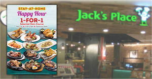Featured image for Jack's Place is offering 1-for-1 Main Course takeaway promotion on weekdays 2.30pm to 5pm till 31 May 2021