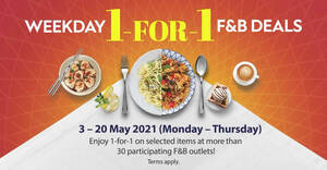 Jewel Changi Airport has 1-for-1 offers at over 30 F&B outlets (Mon-Thurs) till 20 May 2021