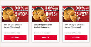 KFC S'pore is offering 30% off all chicken buckets for takeaway orders till 7 May 2021
