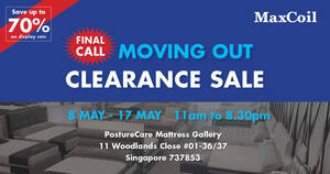 MaxCoil Moving Out Clearance Sale from 8 to 17 May 2021
