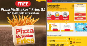 McDelivery S'pore: Free Pizza McShaker™ Fries with any purchase till 19 May 2021