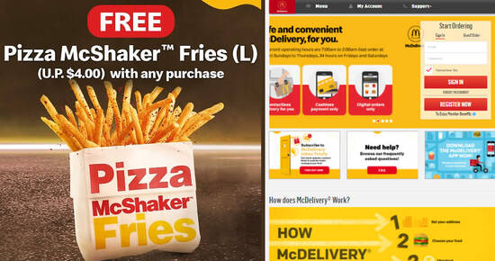 Featured image for McDelivery S'pore: Free Pizza McShaker™ Fries with any purchase till 19 May 2021