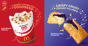 Featured image for McDonald's S'pore offering Lotus Biscoff McFlurry & Blueberry Cream Cheese Pie (From 27 May 2021)