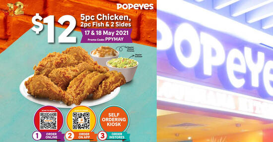 Featured image for Popeyes S'pore offering 5pc Chicken, 2pc Fish and 2 sides all for $12 from 17 - 18 May 2021