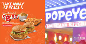 Featured image for Popeyes S'pore has takeaway specials from $8.90 (usual $18.40) for a limited time (From 19 May 2021)