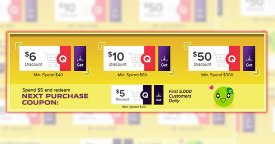 Featured image for Qoo10: Super Sale - grab $6, $10 & $50 cart coupons daily till 28 May 2021