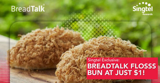 Featured image for $1 BreadTalk signature Flosss or Fire Flosss bun for Singtel customers till 18 May 2021