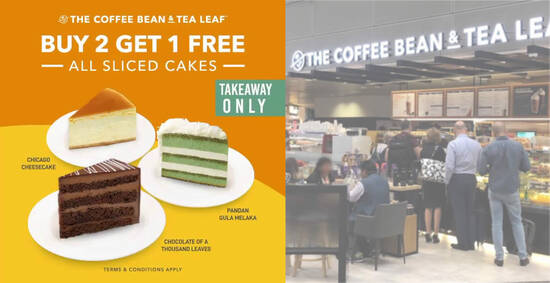 Featured image for The Coffee Bean & Tea Leaf S'pore is offering Buy-2-Get-1-Free all sliced cakes from 7 May 2021