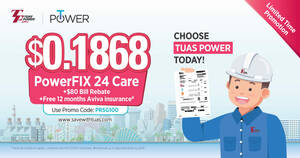 Enjoy $80 Bill Rebate* Off Your SP Utilities Bill and Save More on Your Electricity with Tuas Power