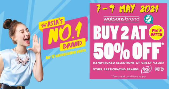 Featured image for Watsons: Buy-2-at-50%-off Watsons, Pure 'n Soft and Orita Brands till 9 May 2021