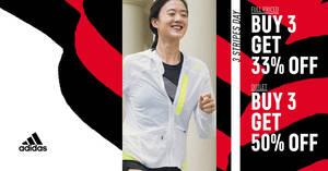 Adidas S'pore: Buy-3-get-50%-off outlet, Buy-3-get-33% off online sale till 27 June 2021