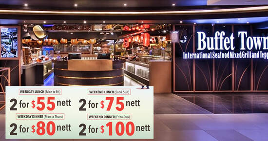 Featured image for Buffet Town is offering two pax buffet deal from $55 nett till 31 July 2021