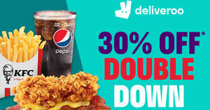 Featured image for Deliveroo: Enjoy 30% off the entire KFC Zinger Double Down range from 25 June 2021