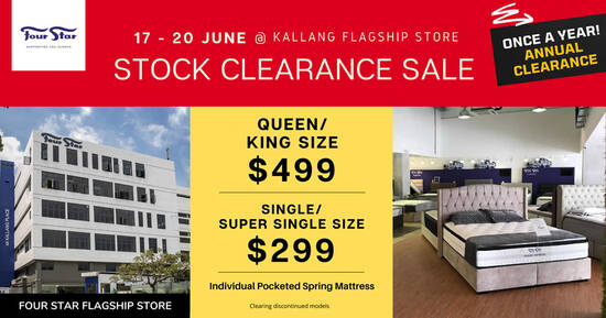 Featured image for Four Star Mattress STOCK CLEARANCE SALE at Kallang Flagship store from 17 - 20 June 2021