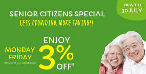 Giant: Senior citizens enjoy 3% discounts on weekdays from 14 June – 30 July 2021