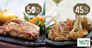 Jack's Place is offering $12 sizzling steak deals (45% – 50% off) on selected days from 22 June 2021