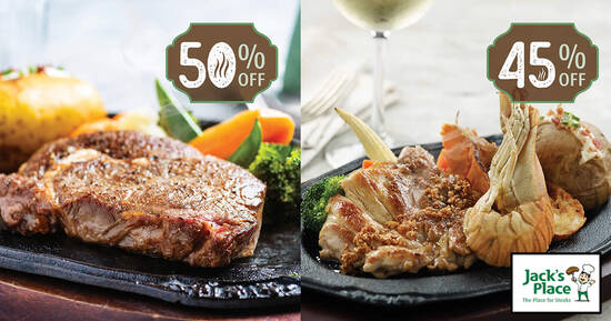 Featured image for Jack's Place is offering $12 (45% - 50% off) sizzling steak dine-in deals on selected days