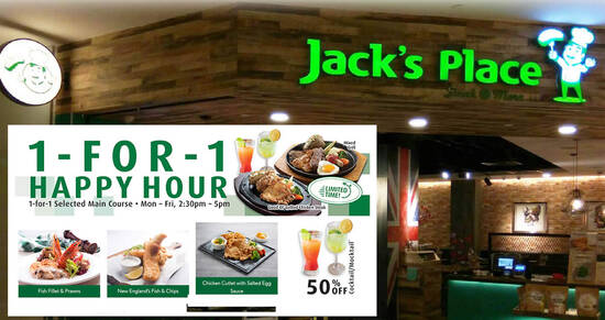 Featured image for Jack's Place: 1-for-1 main course weekday Happy Hour dine-in/takeaway promo (2.30pm - 5pm)