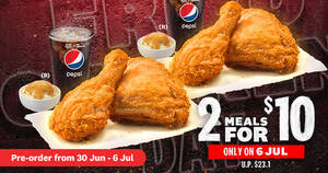 Featured image for KFC S'pore: Two Meals for $10 (usual $23.10) preorder now open for collection and delivery till 6 July 2021
