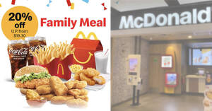 McDonald's S'pore: 20% off 9pc Chicken McNuggets Family Meal (U. P. from $19.30) till 13 June 2021