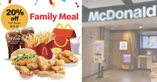 Featured image for McDonald's S'pore: 20% off 9pc Chicken McNuggets Family Meal (U. P. from $19.30) till 13 June 2021