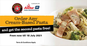 Featured image for (Fully Redeemed) PastaMania is offering 1-for-1 cream-based pastas for dine-in/takeaway till 18 July 2021