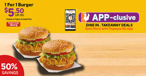 Featured image for Popeyes S'pore: 1-for-1 Burger with $10 min spend and more in-store app offers till 30 June 2021