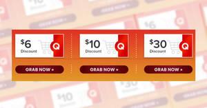 Qoo10: Super Sale – grab $6, $10 & $30 cart coupons daily till 25 June 2021
